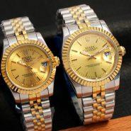 ساعت رولکس صفحه طلایی ساده